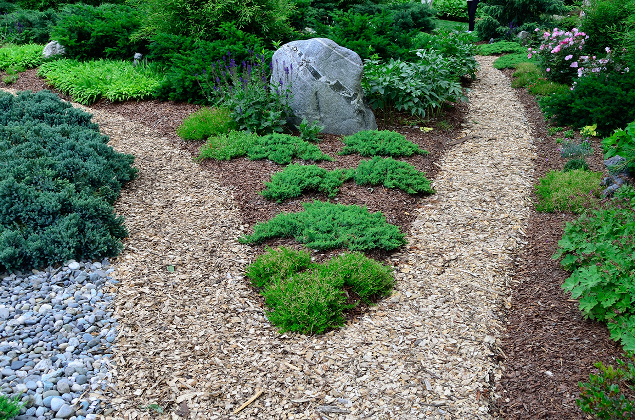 mulch & stone walkways